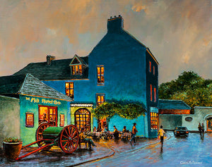 An acrylic painting of a view of a vibrant Milk Market in Kinsale town , Cork.