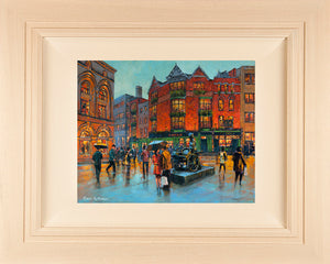 Original 18x14 inch acrylic painting of the Molly Malone bronze statue on Suffolk Street, Dublin