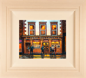 Acrylic painting on 12x10 inch canvas featuring Mulligans Pub on Poolbeg Street, Dublin