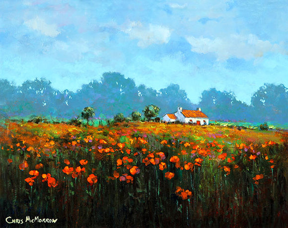 A painting of a meadow of poppies