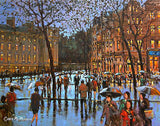 A painting of crowds of people crossing at College Green