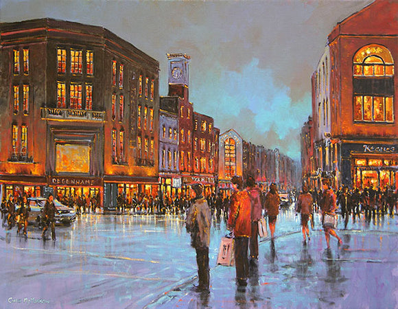 A painting of a rainy day in the city of Limerick