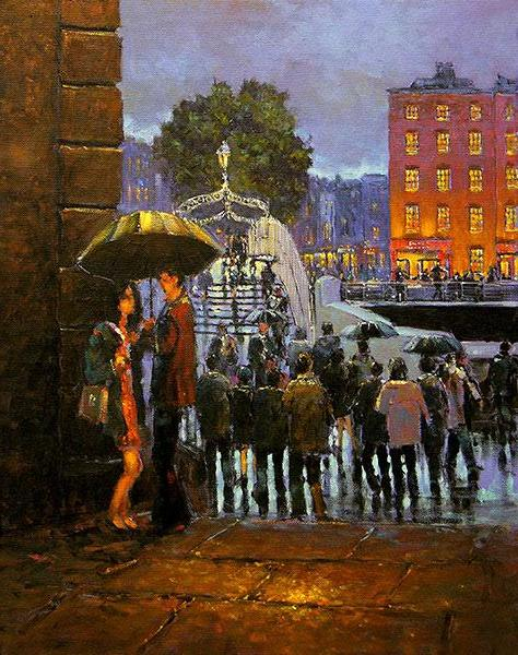 A painting of a couple embracing under Merchant Arch, Dublin