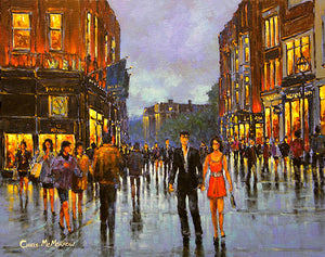 A painting of a young couple walking together on a city street