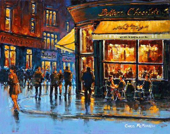A painting of Butlers Cafe on South William Street, Dublin