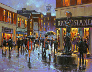 A painting of shoppers in the city centre, Limerick