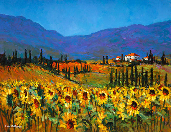 A painting of sunflowers in Italy