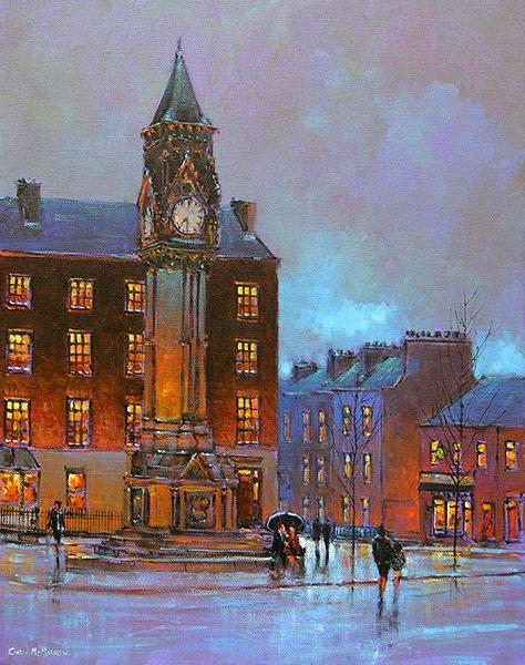 A painting of Taits Clock , Baker Place, Limerick