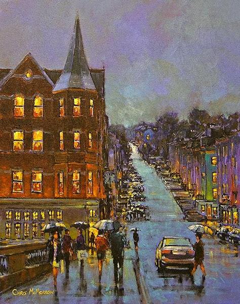 A painting of a view of Patricks Hill in Cork city