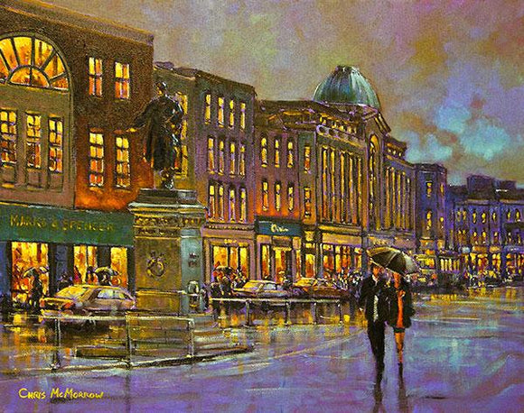 A painting of early evening on Patrick Street, Cork