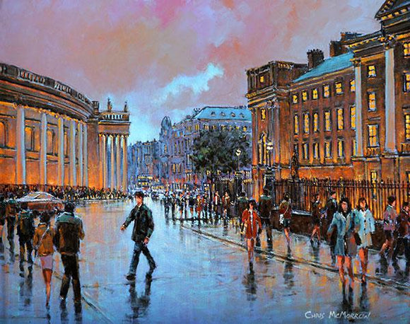 A painting of people in College Green , Dublin city