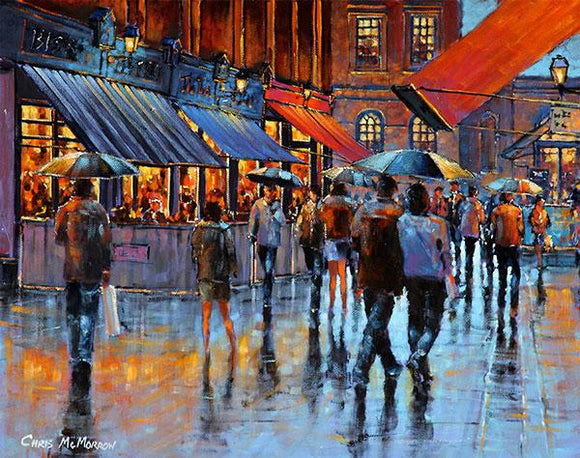 A painting of Castlemarket in the rain