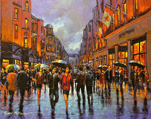 A painting of an evening on Grafton Street, Dublin