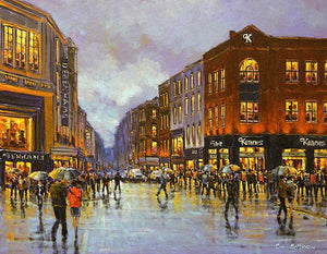 Print of a painting of people crossing O'Connell Street, Limerick