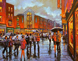 Print of a painting of people out shopping in Limerick city