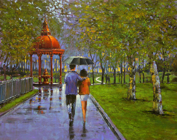 A painting of a couple walking under an umbrella near the fountain in the Peoples Park, Limerick