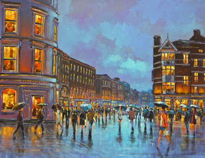 A painting of Grand Parade, Cork city in the rain