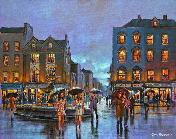 A painting of people on Grand Parade, Cork