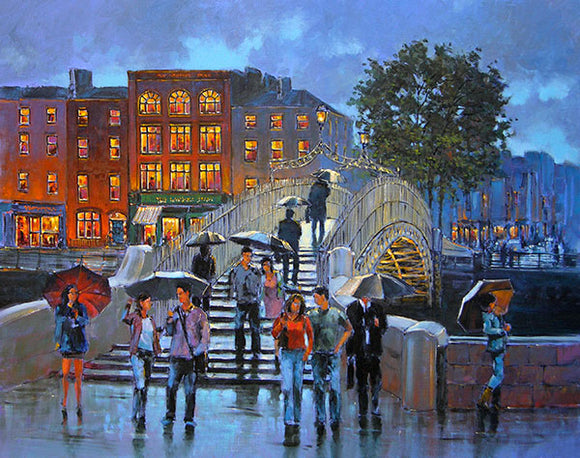Over the Bridge   256A painting of people crossing over the Halfpenny Bridge
