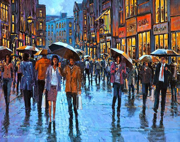 A painting of Grafton Street busy with people