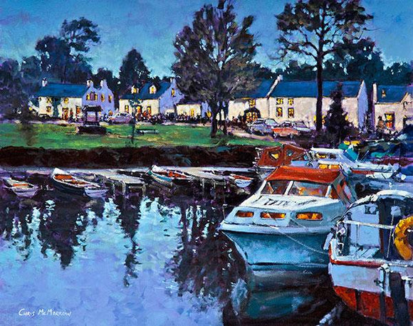 A vibrant acrylic painting of pleasure boats tied up in the tranquil harbour at Garrykennedy Village on the shores of Lough Derg, Co. Tipperary.