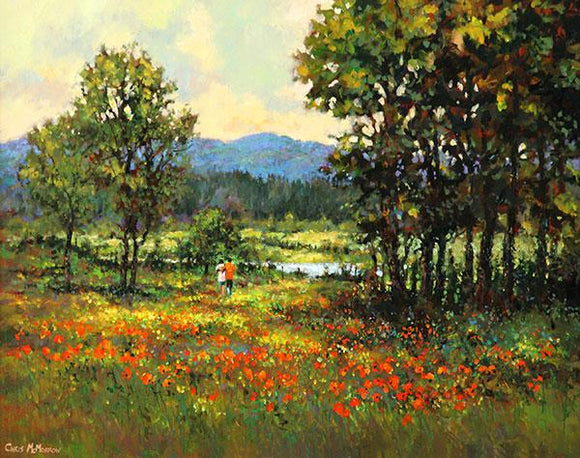 A painting of a couple taking a romantic stroll in a poppy meadow