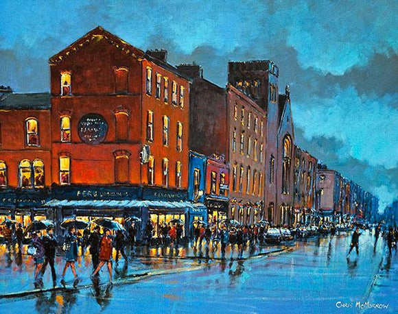 Acrylic painting of a busy day in Limerick City