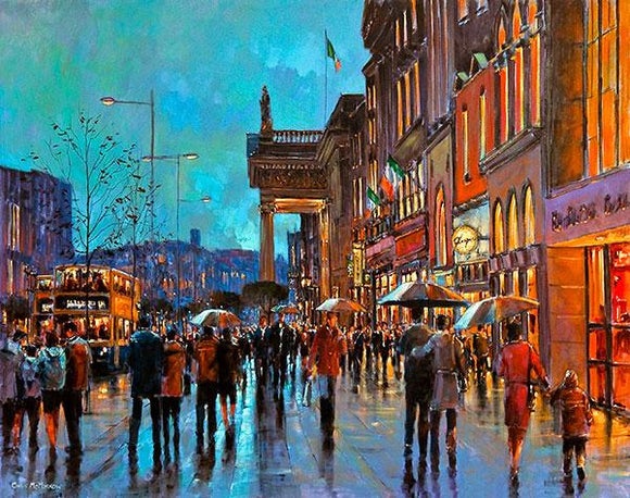 A painting of the hustle and bustle of city centre Dublin