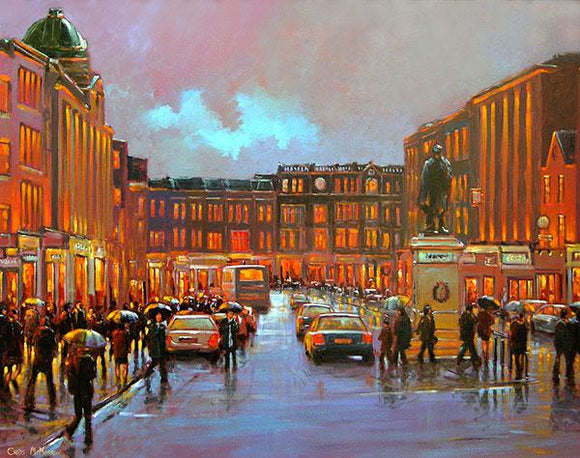 A painting of a view of Patrick Street in Cork city