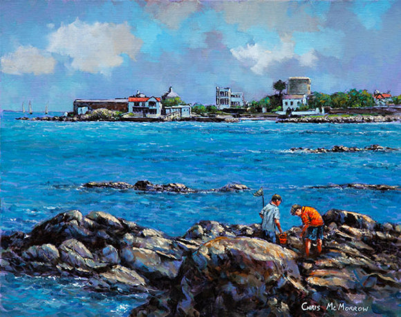 A painting of two boys as they search for crabs in Sandycove, Co Dublin