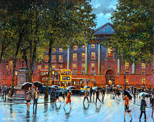 A painting of people strolling around Trinity College area