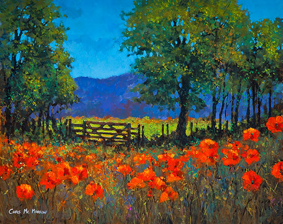 A painting of a meadow of red poppies