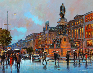 A painting of walkers crossing O'Connell Street, Dublin
