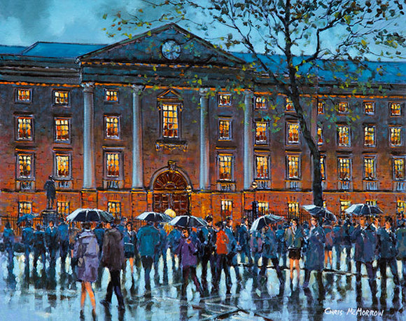 A painting of a crowd of people crossing in front of Trinity College, Dublin