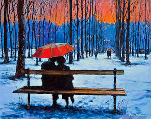 A painting of a couple sitting on a park bench under a red umbrella