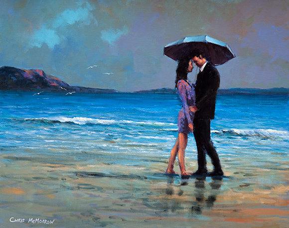A painting of a couple embracing under an umbrella on the strand