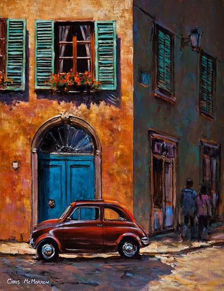 A painting of a Fiat Cinquecento car on an Italian street