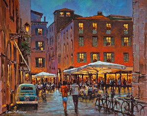 A painting of an Italian evening outdoors in the Piazza