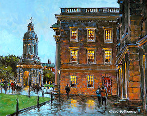 A painting of inside Trinity College , Dublin