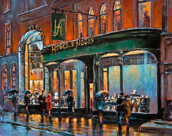 A painting of Hodges and Figgis bookstore , Dawson Street