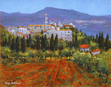 A painting of poppies sweeping towards a Tuscan Italian village