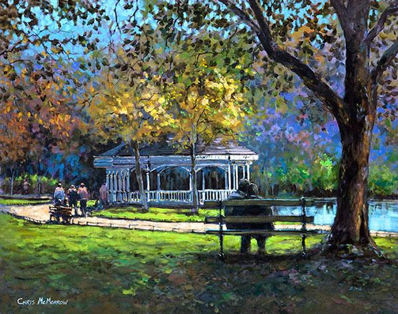 A painting of a couple sitting on a bench in Stephens Green, Dublin