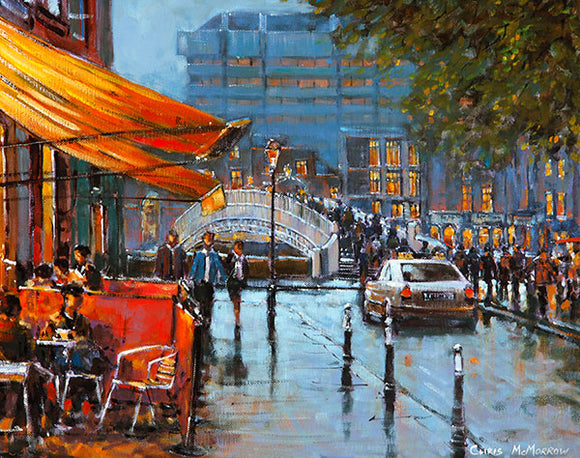A painting of a view of Dublin from Liffey Street