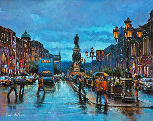 A painting of a couple under an umbrella in the middle of O'Connell Street, Dublin