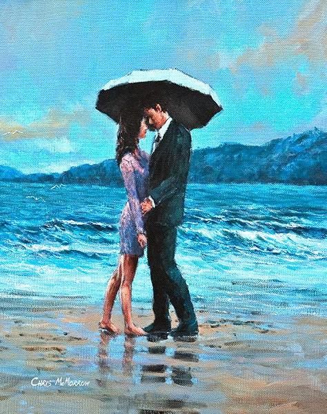 A painting of a couple embracing under an umbrella on a beach