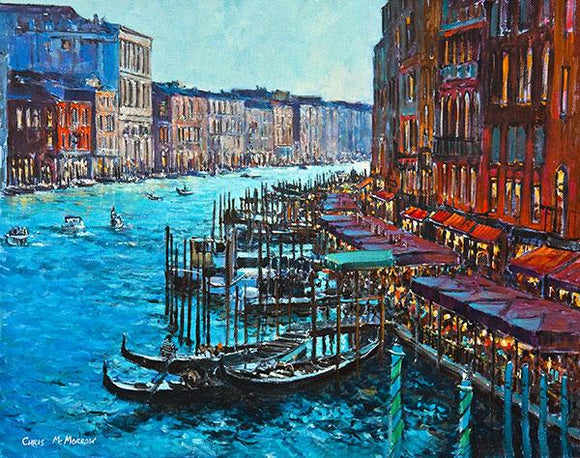 A painting of the Grand Canal, Venice, Italy from the Rialto Bridge