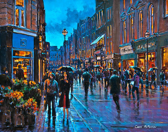 A painting of shoppers on Grafton Street, Dublin