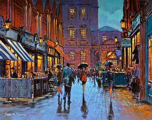 A painting of a busy evening in Castlemarket, Dublin