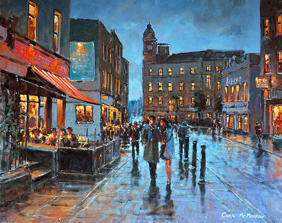 A painting of a couple walking together on South William Street, Dublin