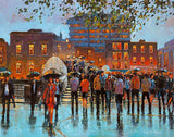 A vibrant acrylic painting of the Halfpenny Bridge from the North side of the quays at Liffey Street, Dublin, showing a crowd of people with umbrellas crossing from one side of the city to the other on this busy pedestrian bridge.